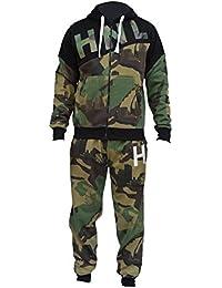 HNL Projection New Mens Army Camo Camouflage Tracksuit Fleece Zipper Hoodie  Top Sweat Suit Trouser Pants 2d9a20631346b