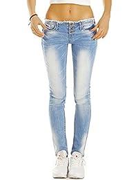 Bestyledberlin pantalon en jean femme, jean slim fit taille basse j50f
