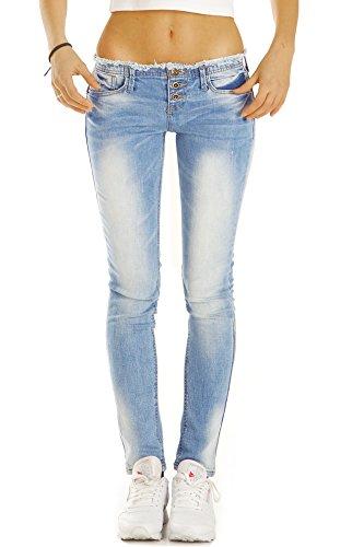 Bestyledberlin Damen Jeans, Skinny Fit Hosen ausgefranst, Stretch Röhrenjeans eng j50f 36/S (Klassischer Ein-knopf Jeans)