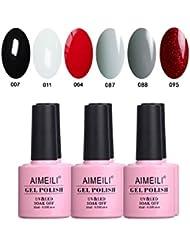 AIMEILI Soak Off UV LED Noir Blanc Rouge Gris Vernis à Ongles Gel Semi-Permanent Lot Color Mix/Multi-Colored Kit Set Ensemble de Couleurs 6 X 10ml (SET6-28)