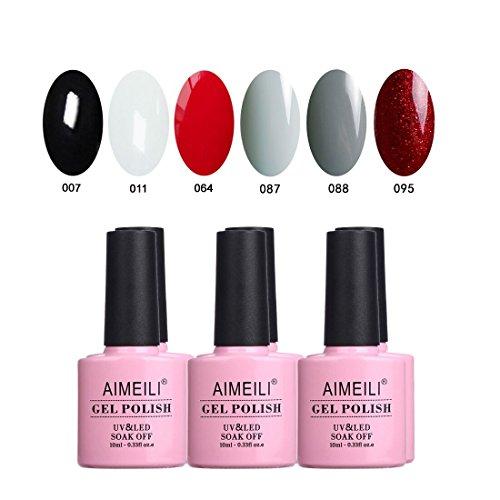 AIMEILI UV LED Gellack Schwarz Weiß Grau Rot mehrfarbig ablösbarer Gel Nagellack Gel Polish Set Kit - 6 x 10ml (SET6-28)