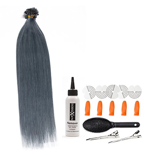 Cheratina bonding hair extensions 100% remy extension capelli extension per capelli (# 007 dark grey grigio 0,5 g straehnen - 60 cm) di u tip extention remy qualità by glamxte nsions