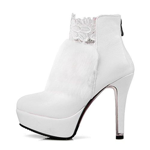 AllhqFashion Damen Knöchel Hohe Reißverschluss Weiches Material Hoher Absatz Stiefel, Weiß, 41