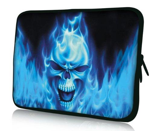 Luxburg® Design Laptoptasche Notebooktasche Sleeve für 17,3 Zoll, Motiv: Strümpfe Blaues Feuer Totenkopf