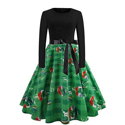Runder Kragen Shamrock Print Spleißen Langarm Kleid Grün XXL, Malloom St. Patrick's Day Frauen, figurbetontes Abendkleid mit Langen Ärmeln und ()
