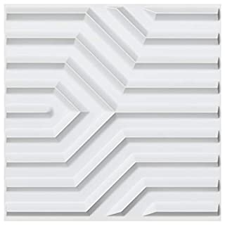 Art3d PVC 3D Wall Panels Geometric Mate Pattern Pack of 12 Tiles Cover 32 SqFt, Size 19.7