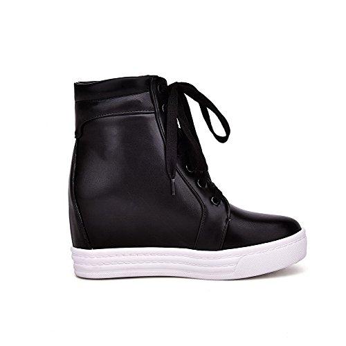 AgooLar Damen Weiches Material Rund Zehe Gemischte Farbe Niedrig-Spitze Stiefel Schwarz