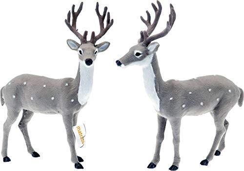 matrasa Hirsch zur Dekoration mit weichem Fell Rentier GRAU - Weihnachtsdeko Weihnachten 26 cm Blick zur Seite
