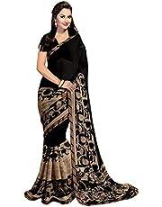ANNI DESIGNER Raniyal Georgette Saree with Blouse Piece (Black Gerog_Black_Free Size)