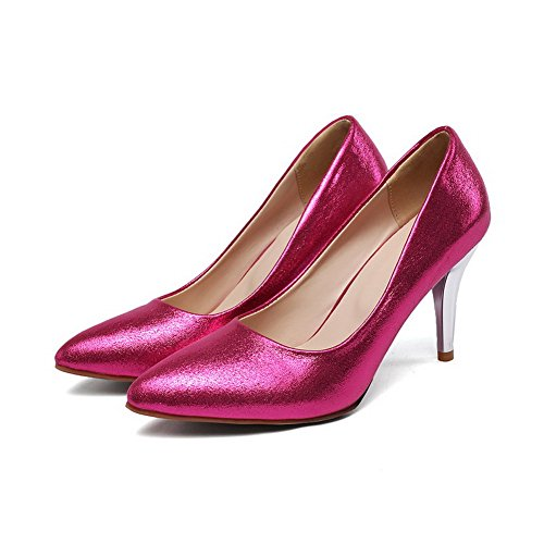 VogueZone009 Damen Rein Pailletten Mittler Absatz Ziehen Auf Pumps Schuhe Rot