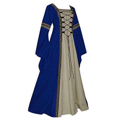 Huacat Damen Mittelalter Kleid Renaissance Retro Style Solid Color Lace Up Flare Ärmel Vintage Short Petal Mittelalterlichen Cosplay Trompetenärmel Party Kostüm Kleidung - Mittelalterliche Kleidung Renaissance Kostüm