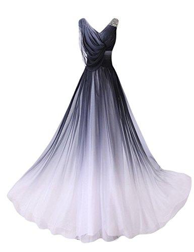 HUINI Elegante Abendkleider Lang Trägerlose One Shoulder Empire Chiffon Ballkeid Festkleid V Neck 42 Prom-ball