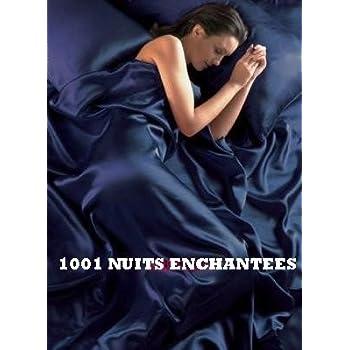 1001 NUITS ENCHANTEES Parure de lit en satin bleu nuit, 6pièces, housse de couette et drap-housse de 200x 200cm pour lit de 140 cm
