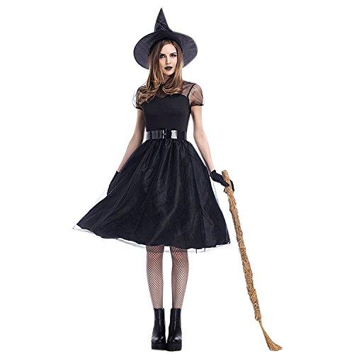 Boodtag Halloween Damen Kostüm Schwarzes Langes Hexenkleid Hexenkostüm Hut,Gürtel, Handschuhe Karneval Faschingskostüm