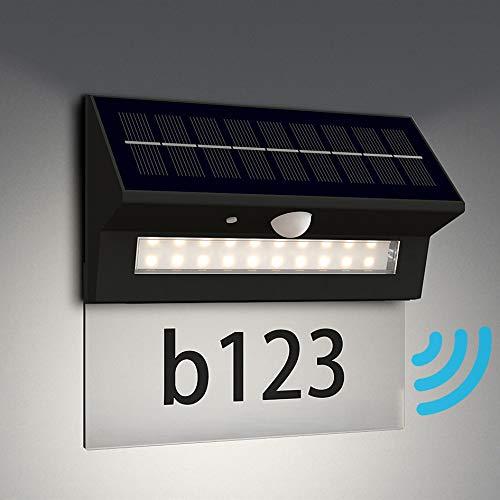 NBHANYUAN Lighting® Solar Wandlampe Hausnummer mit Bewegungsmelder LED Edelstahl Solarleuchten / Dimmbar Wandlampe für Garten 3 Modi in Dimmbarer Beleuchtung IP44 (mit Hausnummernschild)