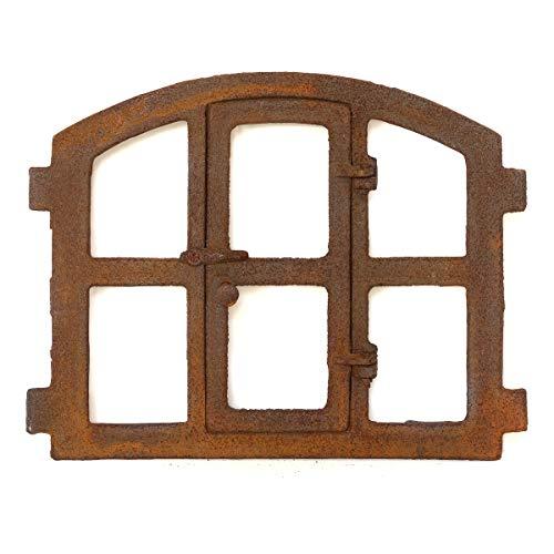 Antikas | Eisenfenster in antiken ländlichen Stil | Höhe ca. 42 cm, Breite ca. 48 cm | Fensterrahmen aus Gusseisen | Fenster für Stall- und Gartenmauern -