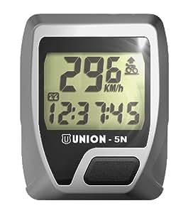 """UNION Fahrradcomputer """"5N"""" , 5 Funktionen, Einsteigermodell, mit übersichtlicher Funktionsanzeige und Tastatur, edles Design, einfache Befestigung und Bedienung"""