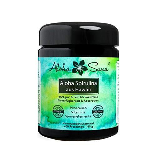 ii Spirulina Pacifica Algen 400 Presslinge a 400 mg, Ultraviolettglas, laborgeprüft, energetisch getestet, Made in Germany ()