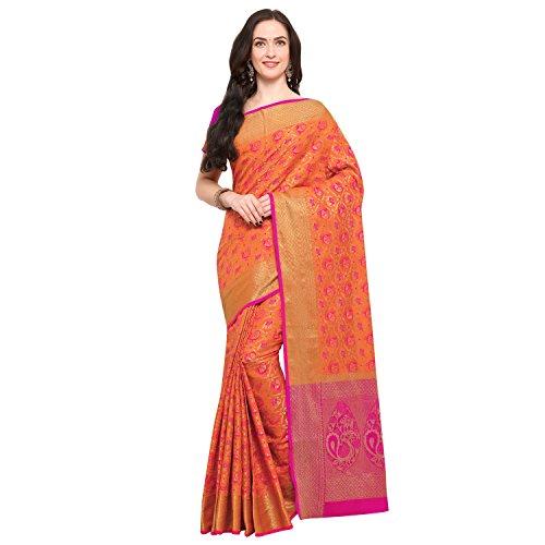 Janasya Women's Peach Silk Patola Saree With Unstitched Blouse (SR031-10542-PEACH)