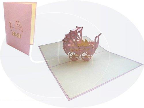 Lin Carte de félicitations pop-up 3D Carte Poussette rosa