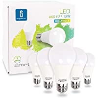 Aigostar - Bombilla LED E27, 12W equivalente a 100W, Luz calida 3000K, 984 lúmenes, Ángulo 280°, no regulable - Caja de 5 unidades [Clase de eficiencia energética A+]