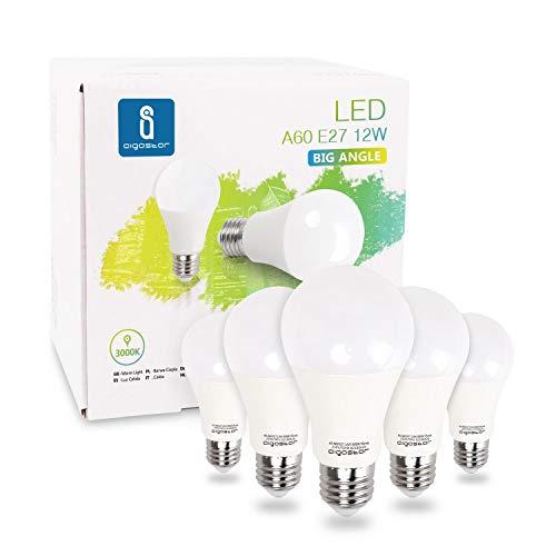 Aigostar - Ampoules LED Standard Culot E27 (Grosse Vis), 12W Consommés Équivalent 100W, Lumière couleur chaude 3000K, 984 lm. Angle de 280°, Pack de 5 unités avec boite [Classe énergétique A+]