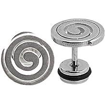 2 Plug Falso Fake Tunnel Fakeplug Pendientes Aretes Piercing Acero color plata espiral Ø 11mm