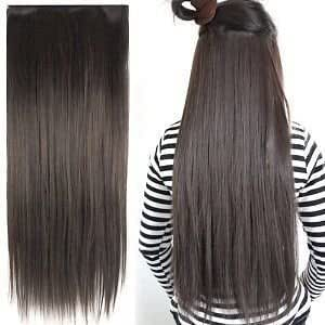 Hair extensions buy hair extensions online at best prices in fok 5 clip based synthetic hair extension brown color 24 inches pmusecretfo Image collections