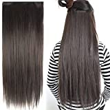 #1: FOK 5 Clip based Synthetic Hair Extension Brown Color-24 inches