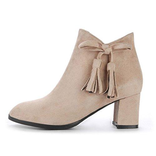 UH Femmes Chaussures Bottines à Cheville avec Noeud Papillon et Franges Talons Moyen Bloc Bout Pointu Fermeture Eclair Abricot