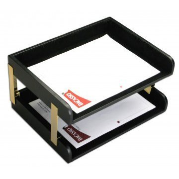 Dacasso Office Organization Envelope Mail Storage Desktop Decorative Classic Black Leather Double Side-Load Letter Trays with Gold Posts by Dacasso