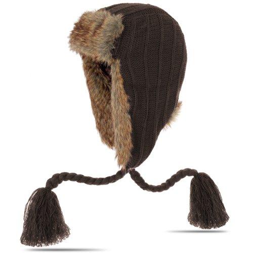 CASPAR - MU001 - Bonnet hiver pour femme - Bonnet en fourrure - Bonnet d'aviateur modèle classique tricot et cordelettes