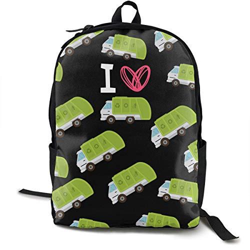 KLing I Herz-Liebes-Abfall-Müllwagen-schwarzer Daypack mit justierbaren Schultergurten, kampierender Rucksack-großer Kapazitäts-Schuletagesrucksack-diebstahlsicherer Vielzweck für Jungen-Mädchen (Größte Abfall-taschen)