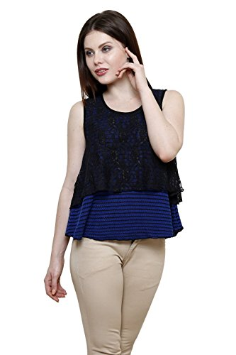 Renka Blue Round Neck Striped Lace Crop Tops For Women