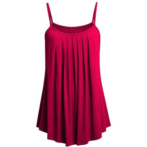 VJGOAL Damen Tank Top, (S ~ 6XL) Damen Mode Chffon lose Leibchen Einfarbig Sommer Ärmellos Plus Size Weste Strand Tops (4XL, Rose Rot)