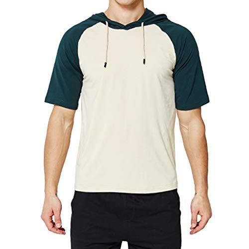 Mode für Männer Nähen Zwei Farben Tops - Herren Freizeit Kapuzenpullover Einfarbig Zweifarbiges Kurzarmhemd Mit Rundhals Lässige T-Shirt Pullover (Khaki,XXL)