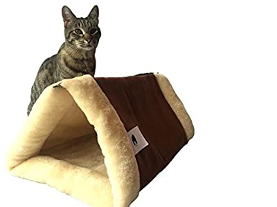 """The Original KittyKave Deluxe - Luxurious 35"""" x 23"""" (2 in 1) Cat Mat and Bed - Tunnel. It's The Purr-fect Large Cat Mat and Cat Bed/Tunnel with cosy warm Thermal Insulation layers, it's Machine Washable, Easy to Store and Keeps fur off your Furr-niture! b"""