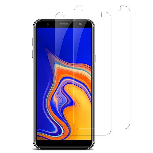 VICKSONGS Panzerglas Schutzfolie für Samsung Galaxy J4+, [Blasenfrei] [HD Ultra] [Anti-Kratzer], 9H Panzerfolie Glas Bildschirm Folie J4+ Screen Protector für Samsung Galaxy J4+/J6 Plus - [2 Pack]
