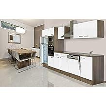 respekta Einbau Küche Küchenblock 340 cm Eiche York Nachbildung Weiß Backofen Ceran Mikrowelle Geschirrspüler Kühlschrank