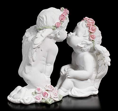 Fantasy Zwei weiße Cherubim Figuren küssen Sich   Engelfigur, Handbemalt, 2er Set (Weiße Figuren)