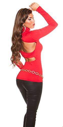 KouCla Extravagantes One Shoulder Damen Oberteil mit Rollkragen Rot