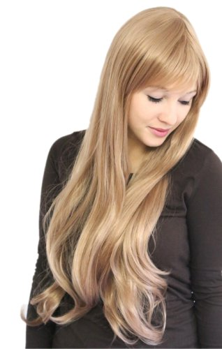 (Prettyland C280-80cm Leicht Gewellt Natürlich Aussehend mit Pony Weiblich lange Perücke - Blond)