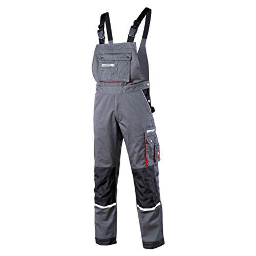 Krähe Arbeits-Latzhose Modern Plus Pro Herren – Hose mit Mehrwert, 12 Taschen, vorgeformte Kniepolstertaschen in grau Größe 60
