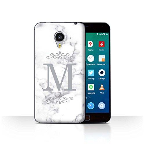 Stuff4® Personalisiert Weiß Marmor Mode Hülle für Meizu MX4 Pro/Gerahmt Silber Single Design/Initiale/Name/Text Schutzhülle/Case/Etui