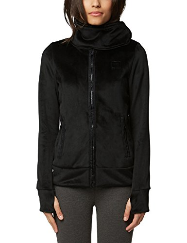 Bench Damen Strickjacke CORE Velvet Fleece Funnel Schwarz (Black Beauty Bk11179) Medium (Herstellergröße: M)