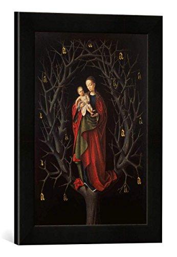 """Gerahmtes Bild von Petrus Christus """"Die Madonna im vertrockneten Baum"""", Kunstdruck im hochwertigen handgefertigten Bilder-Rahmen, 30x40 cm, Schwarz matt"""