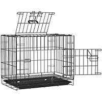 Pet Guard Double Door Folding Metal cage with Removable Tray and paw Protector for Dogs,Cats and Rabbits18 Inch Sky…