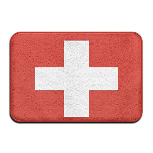 shyly Schweizer Flagge Willkommene Matte Teppich Haustür Bad Innen Außen Bodenmatte Tor Pad Abdeckung Fußmatte Badematte Eingang Außerhalb Türen Eingang Teppich 23,6 (L) x 15,7 (W) Zoll