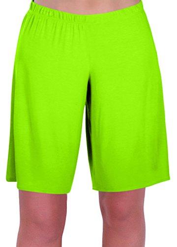 EyeCatch - Stern Damen Jersey Entspannt Komfort Elastisch Flexi Strecken Damen Kurze Hose Plus Größen (38/40, Neon grün) Neon-grüne Hose