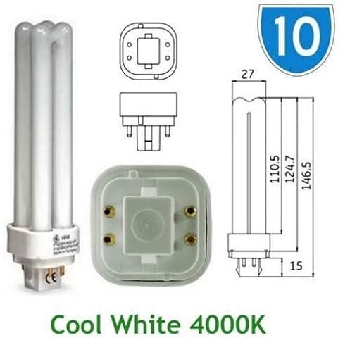 10 x GE-Lampadina a risparmio energetico 18w 12870 GE %2FE Biax D Quad, 4 PIN, colore: bianco freddo 4000 k, G24q-2, 4P, PLC-4000 K Lampadina PL F18DBX %2FSPX41% 2F840% 2F4P lampadine